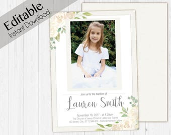 Baptism Invitation Girl, Editable PDF, Girl Invitation white flowers, Baptism Invite, invitation double side, back side, Baptism template