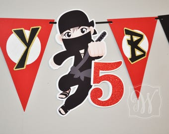 Ninja Theme Birthday Party Banner - Ninja Birthday - Ninja Party - Ninja Decorations - Ninja Banner