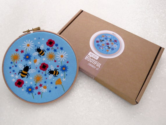 Bees embroidery kit wild flower needle craft diy