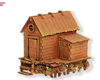 "Wargaming terrain -""Hermit"" - 28mm (1:35) mdf laser cut fantasy house scenery, Malifaux,Hordes, miniature building"