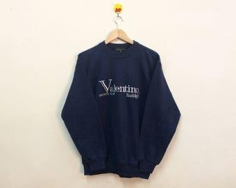 Rare!!! Vintage Rudolph Valentino Sweatshirt Spellout Big Logo Embroidery