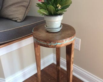FREE SHIPPING Live Edge Slab Side Table Litchtenberg Figure Side Table Small  Table
