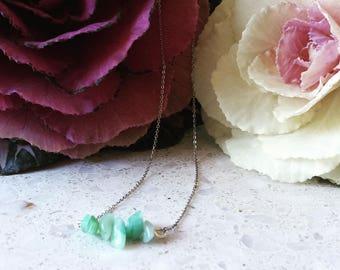 Amazonite Chip Necklace / Amazonite Gemstone Necklace/ Crystal Necklace/ Natural Crystal Necklace/ Healing Necklace