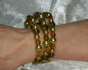 Green and gold memory wire wrap bracelet