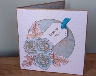 Teal Roses Thank You Card