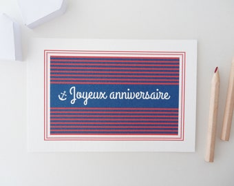"""""""Happy birthday"""" card with blue and red stripes"""