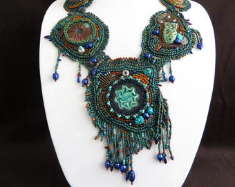 Raku Statement Necklace, Freeform Seed Bead Jewelry, Bead Embroidery Necklace, Bold Chunky, Bead Woven Necklace, Hand Made, Beaded Jewelry