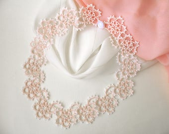 Tatting lace necklace Wedding jewelry for bride Christmas gift Pink white victorian necklace Tatted jewellery Delicate boho bib necklace