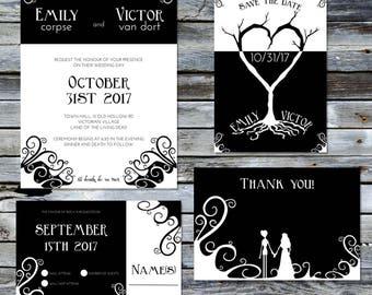 Corpse Bride Wedding Invitation Set ~Digital~