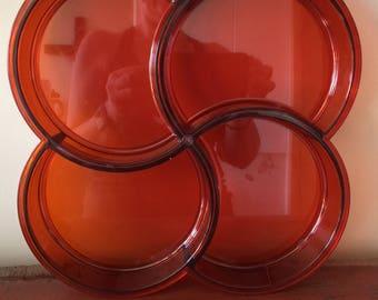 Translucent Orange Acrylic Divided Tray - 4 Sections - Gunnar Cyren for Dansk Denmark