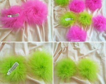 Fuzzy furry Marabou Hair clips