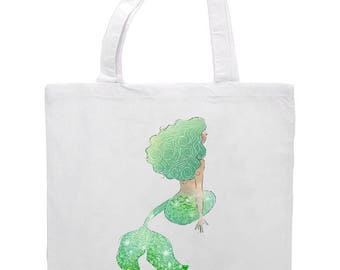 Watercolour Mermaid Tote Bag 41cm x 38cm. Can Personalise, Various Designs, Birthday, Christmas Gift, Mermaids, Unicorns, Mythical Creature