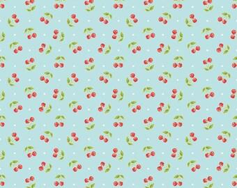 Riley Blake Glamper Cherries Cotton Quilting Fabric Aqua
