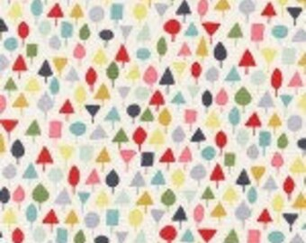 Michael Miller 100% Cotton Quilting Fabric  LIttle Orcard multi-colored trees covering cream background