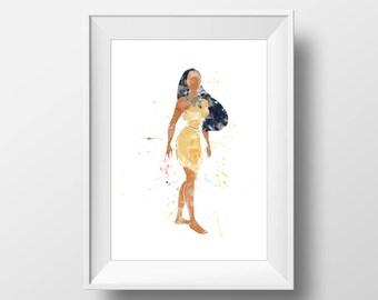 Wall Art Watercolor Disney Pocahontas Print,Pocahontas Print,Watercolor Disney Princess,Nursery Print,Printable Disney,Baby Gift,Room Decor