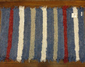 Blue Striped Fuzzy Rug By Ability Weavers F566 (22 X 38 Inches)