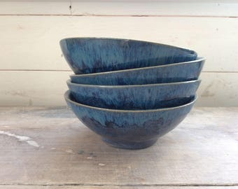 Handmade ceramic blue bowl  perfect for cereals, salads, soup, rice, noodles and desserts. Modern rustic pottery