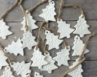 Handmade Ceramic hanging white trees ornaments with snowflakes design.  Christmas gift tags, decorations, Christmas ornaments, favours,