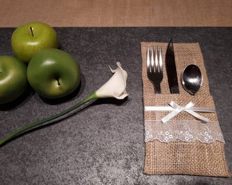 Burlap cutlery holder