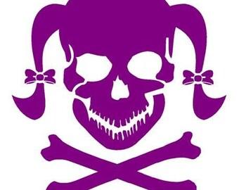 Girl Skull with crossbones Decal