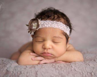 Newborn Headband - Photo Prop - Taupe Elastic Headband - Photography Prop - Lace Baby Headband - Floral Headband - RTS - Nadia