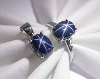 Wedding ring pendant blue star sapphire ring silver sterling 925
