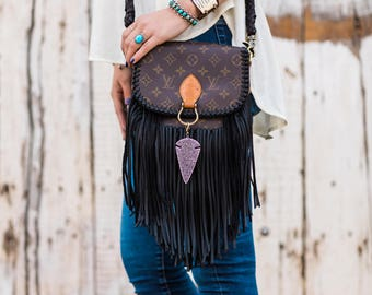 The World Travler (Medium)  Louis Vuitton, fringe, upcycle, gift for her, boho, western, cowgirl, gypsy, crossbody bag, purse, Christmas