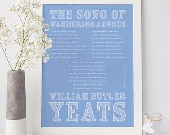 WB Yeats Art Print, Yeats Print, Song Wandering Aengus, Irish Poetry, Irish Art, Poetry Art, Irish Print, Wall Art, Type Poster, Wall Decor