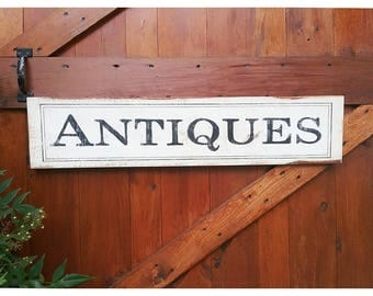 Country Farmhouse Style Hand Painted ANTIQUES Wood Sign