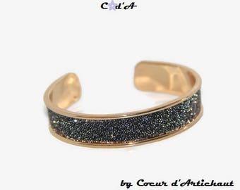 Swarovski crystals and gold Bangle Bracelet black and gold