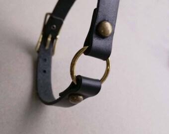 Black leather bdsm collar. Gothic o-ring choker. Punk rock collar. Leather collar. Fetish wear. Black leather choker. O-ring collar.