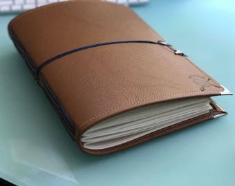 Peregrine Leather Watercolor Journal - Sketchbook - Notebook Tan/Navy Cording 40 pages ARCHES 140 Lb, 300 gsm HOT pressed paper