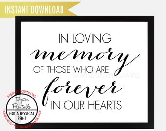 In loving memory of Loved One Sign, Forever in our hearts sign, Wall Art, Instant Download, Printable Memorial Table Sign