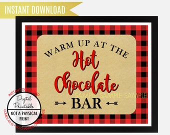 Warm Up at the Hot Chocolate Bar Sign, Kitchen sign, Wedding Sign, Buffalo Lumberjack plaid sign, Wall Art, Instant Download, printable