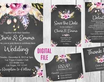 Vintage Floral Boho Wedding Invitation, Save the Date, Details, RSVP Card, Thank You Card Sign, Chalkboard Floral Boho Wedding Invite Set
