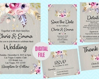 Floral Boho Wedding Invitation, Save the Date, RSVP Card, Thank You Card Sign, Feather Floral Boho Wedding Invite Set