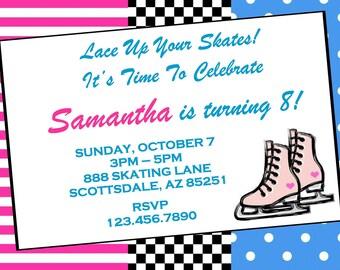 Skate Invitation, Ice Skating Birthday Party Invitation, Birthday Party Invite, Printable, Personalized Customized, Baby Shower Invitation