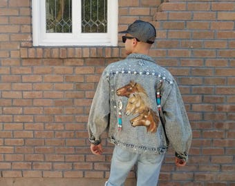 Vintage 1980s 80s Acid wash denim jacket with painted horses studded and beaded western cowboy Mens medium