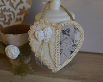 Shabby - heart wood heart decorative vintage image and roses shabby - hanging heart - heart wall sign - wooden romantic heart - decoration