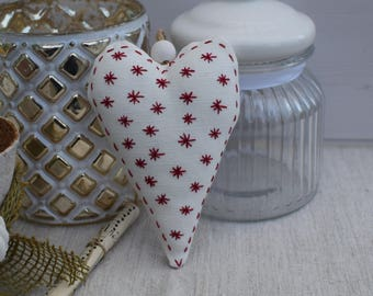 Embroidered red heart - heart pillow Scandinavian holder - decorative heart - heart in white fabric and star snow - fabric heart