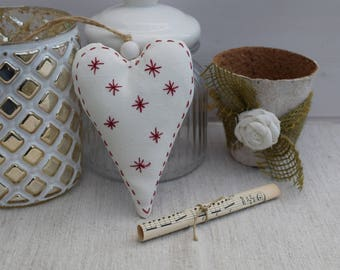 Embroidered red heart - Scandinavian heart - decorative heart - heart and star snow white fabric - fabric heart
