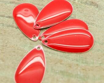 set of 50 charms enameled Teardrop Red