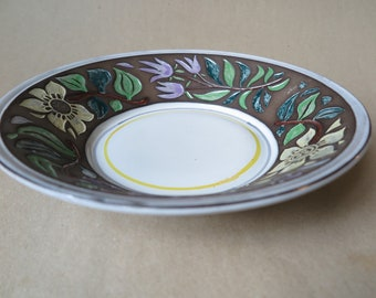 Upsala Ekeby Swedish Pottery Decorative Plate.  Designed by Mari Simmulson. Colorful Floral Motif.  Vintage 1960's.