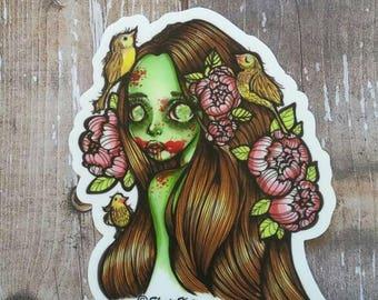 Zombie - Halloween themed 3 inch Die Cut Weatherproof Vinyl Sticker /Decal from Drawlloween /Inktober 2017