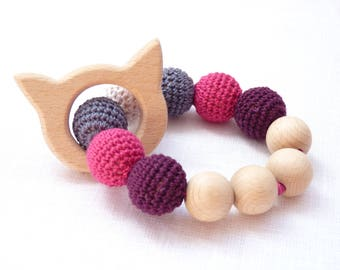 Cat teething ring / pink crochet teether / natural wooden teether / teething toy / nibble toy / infant teething toy / cotton teething toy