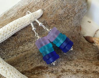 Made in Hawaii, Purple blue cobalt  sea glass earrings, 925 sterling silver hook, gift box.beach jewelry