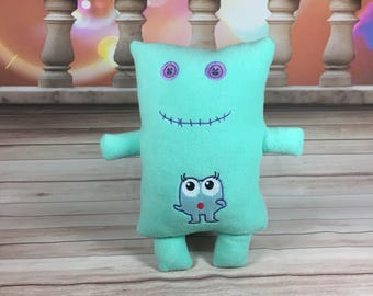 Button Eye Embroidered Monster - Stuffed Animal - Pillow - Lil Monster - Baby - Plushy - Stiches - Applique