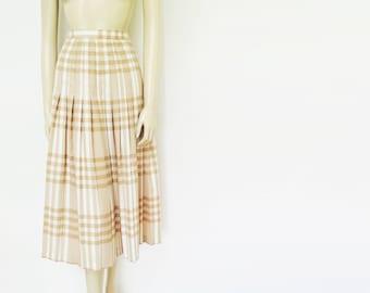 Vintage Skirt, 1960s, UK16, Pleated Midi Skirt, Checked, Cream Skirt, Vintage Clothing, Pinup Skirt, Retro