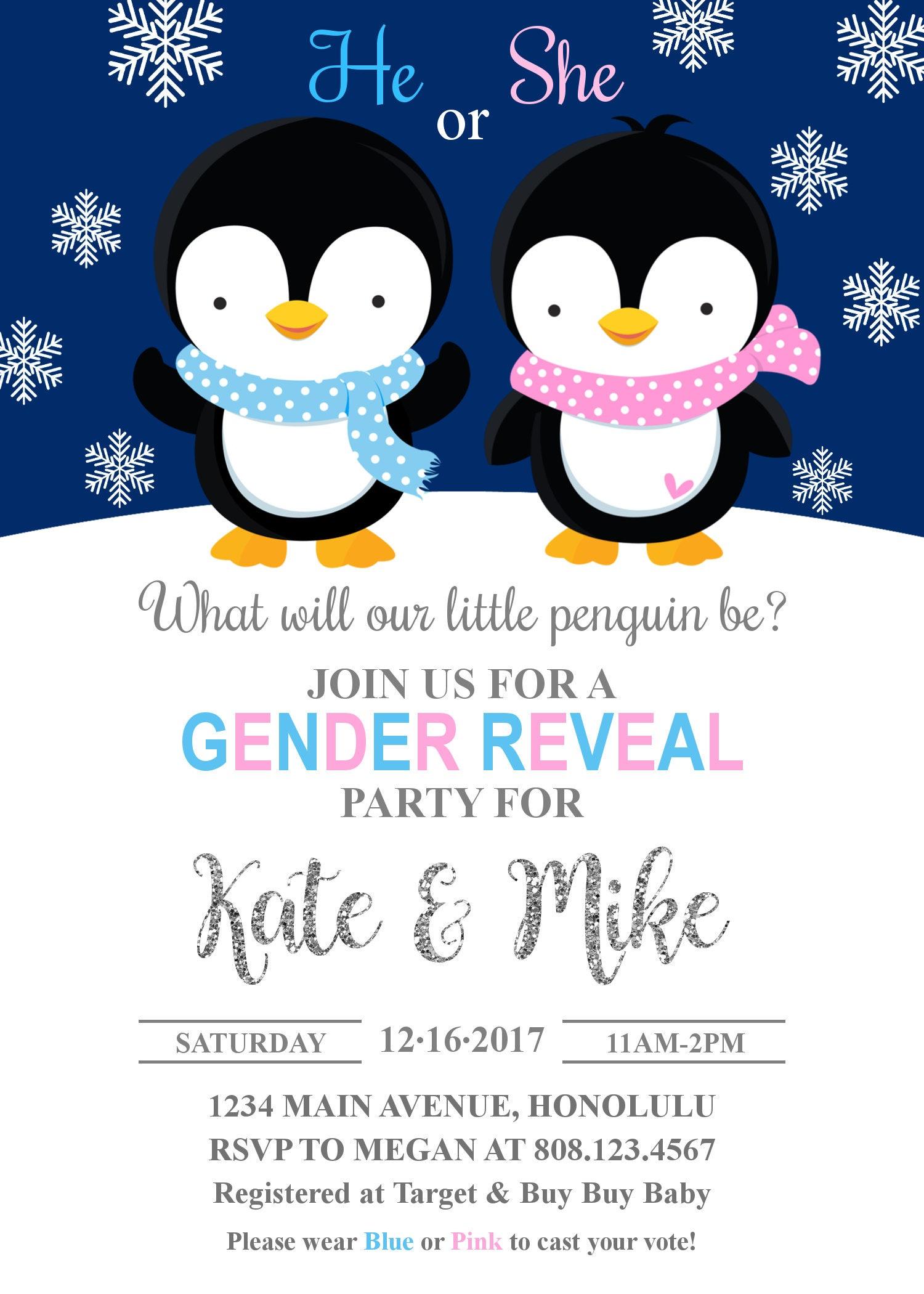 Winter Gender Reveal Invitation. Penguin Gender Reveal Invitation ...