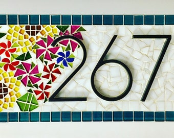 Floral mosaic address sign